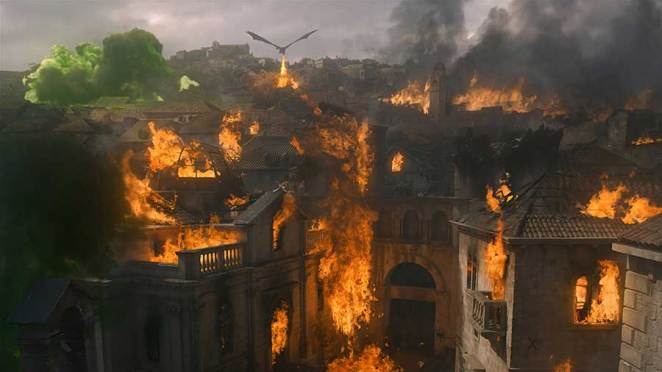 "Kings Landing burning in Game of Thrones ""The Bells"""