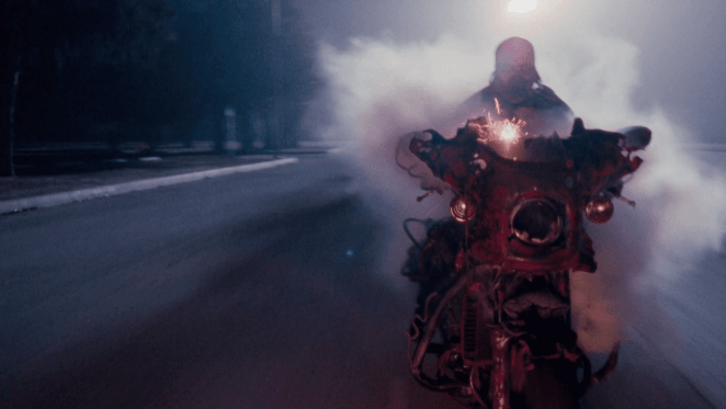 Danny is melded with his motorcycle in A Nightmare on Part 5: The Dream Child.