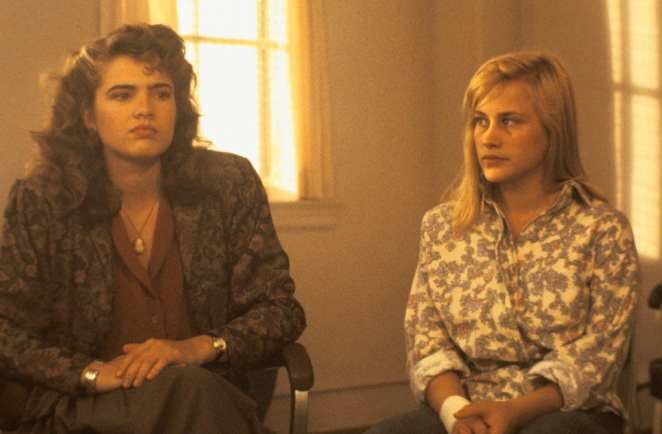 Dr. Nancy Thompson (Heather Langenkamp) reprising her role with Kristen (Patricia Arquette) in Dream Warriors, helping a group of troubled teens in a mental institutions fight Freddy.