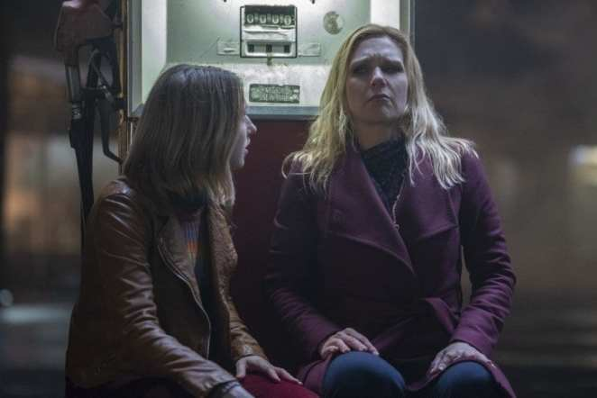 "Taissa Farmiga and Rhea Seehorn as two women on the run from meteorite crazed men in The Twilight Zone ""Not All Men"""