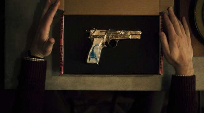 "The Blue Scorpion gun, which becomes an albatross for Chris O'Dowd's Stork in ""The Blue Scorpion"""