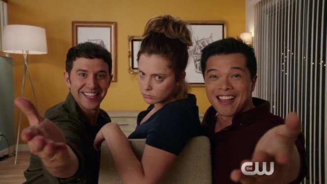 Santino Fontana, Rachel Bloom and Vincent Rodriguez III in Crazy Ex-Girlfriend