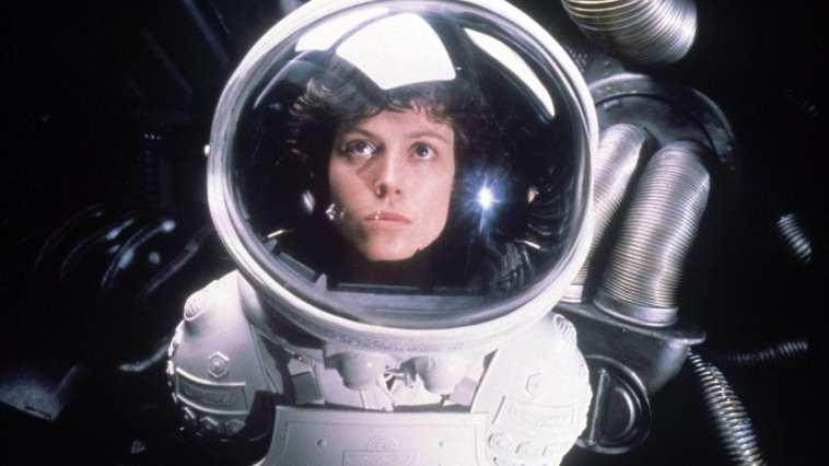 Ripley looks on in a spacesuit in Alien