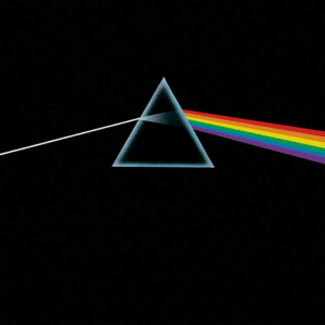 An illustration of a prism dispersing a spectrum of light on the front of the Dark Side of the Moon album cover