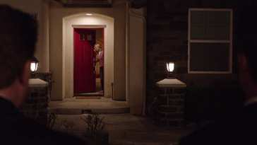 Janey-E at red door of Lancelot Court Home Twin Peaks (2017)