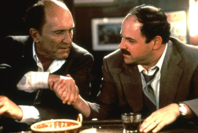 Robert Duvall and Jason Alexander in The Paper