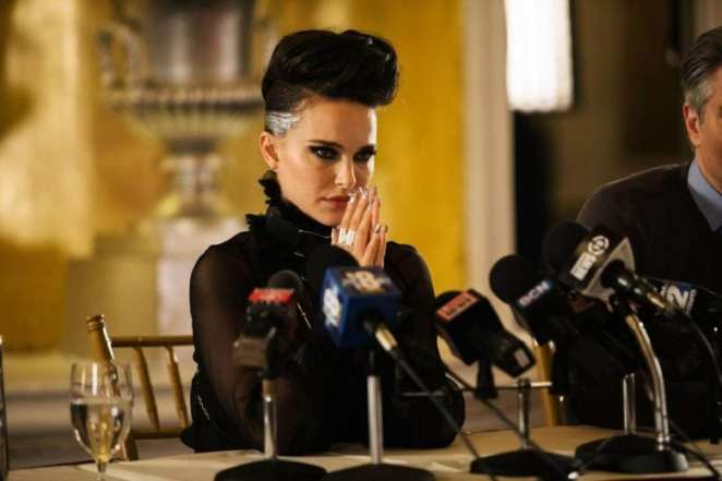 Natalie Portman stares viciously out of frame as Celeste from Vox Lux