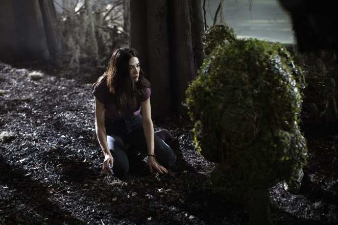 Dr. Abby Arcane (Crystal Reed) meets with the Swamp Thing (Derek Mears) far away from prying eyes.