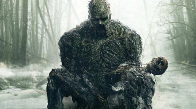 Swamp Thing carrying an unknown corpse through the swamps surrounding Marais.