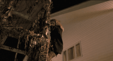 Laura Palmer climbing from a window