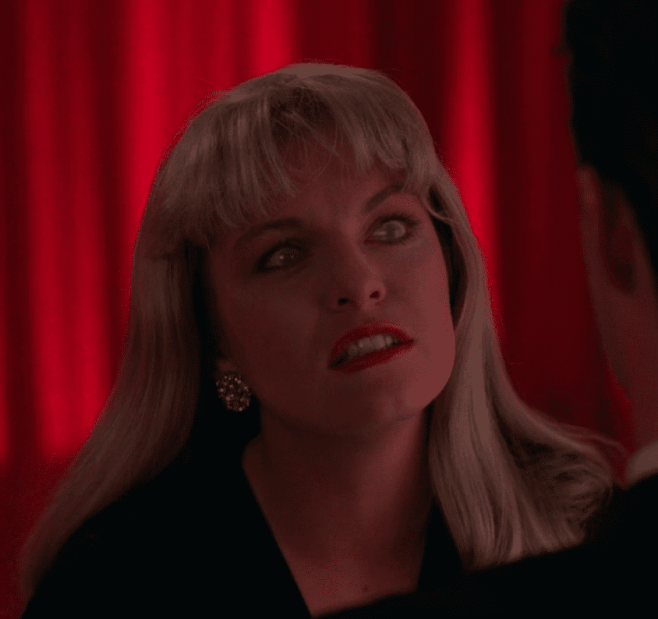 Laura Palmer's doppleganger is about to scream in Twin Peaks