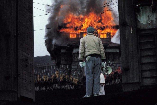Akira Kurosawa on the set of Ran