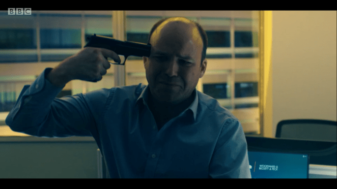 Stephen threatens suicide by placing a gun to his head