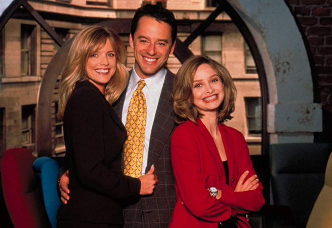 Courtney Thorne-Smith as Georgia, Gil Bellows as Billy, and Calista Flockhart as Ally on Ally McBeal.
