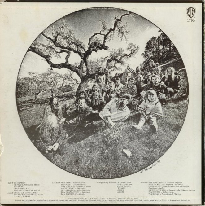 Back cover of the album Aoxomoxoa by Grateful Dead