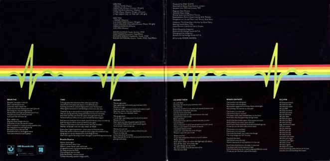 A spectrum of light refracting into a heartbeat on the inner sleeve of Pink Floyds Dark Side of the Moon album cover