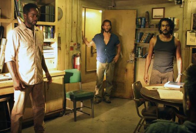 Michael, Desmond, and Sayid in the Season 4 finale of Lost, There's No Place Like Home