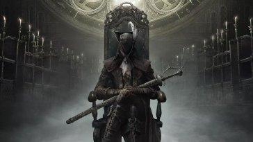 A masked person sits on a crown in an image from Bloodborne
