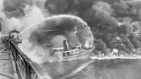 A picture of the Cuyahoga River on fire in 1952, which ran as part of a Time magazine story about the fire in 1969