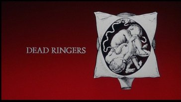 Dead Ringers title card with a red background and a drawing of two babies in one womb