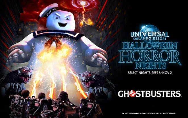 The Stay Puft Marshmallow Man looks down on the Ghostbusters as they hit him with their streams in an illustrated image promoting Universal's Halloween Horror Nights