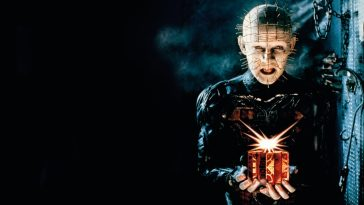 Pinhead holds the box in Hellraiser