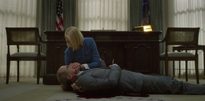 Doug dead at the end of House of Cards, bleeding from a stab wound to the stomach