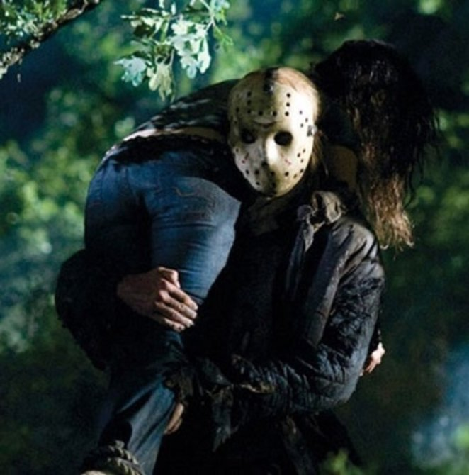 Jason Voorhees carrying a dead body
