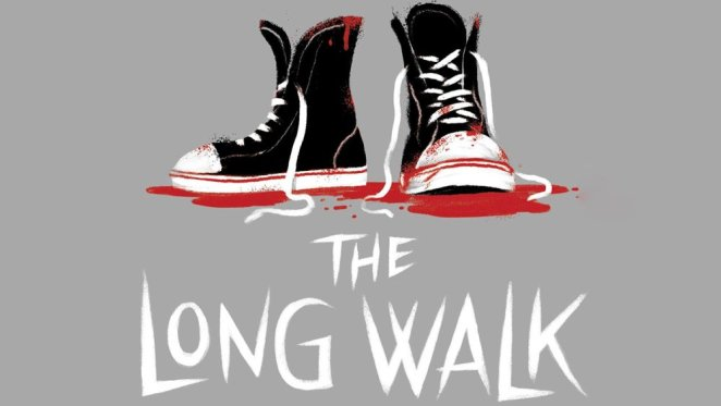 A drawing of shoes sitting in blood in a cover image for The Long Walk