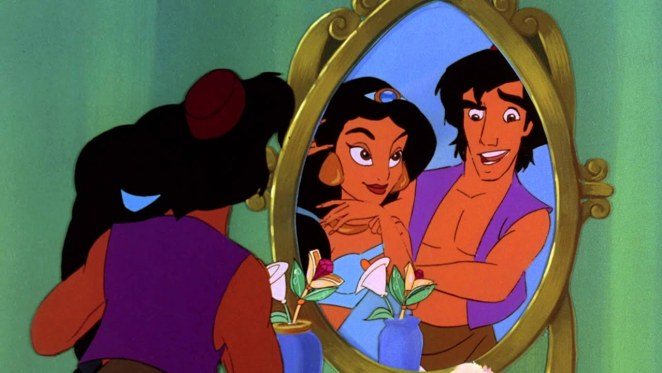 Aladdin and Jasmine look into a mirror in Return of Jafar