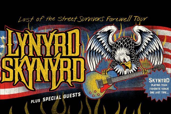 An eagle holds a guitar on a Lynyrd Skynyrd tour poster
