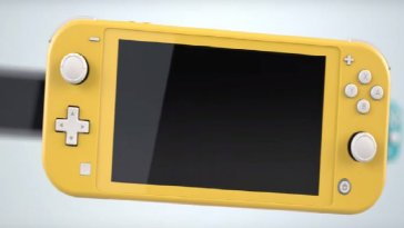 A yellow coloured Nintendo Switch Lite
