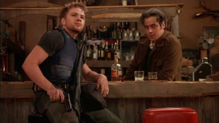 Ryan Philippe and Benicio Del Toro take a moment from the mayhem in The Way of the Gun.