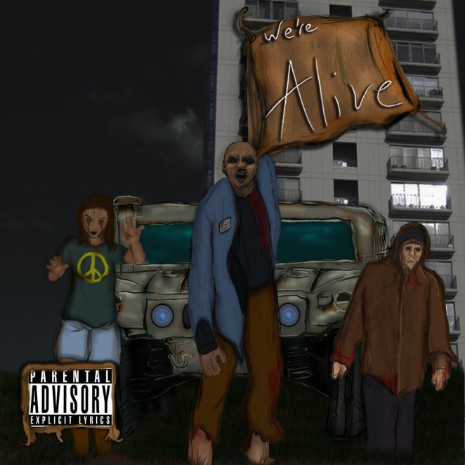 Cover Art for episode 1 of the We're Alive podcast with 3 zombies in front of a large jeep and high rise building at night