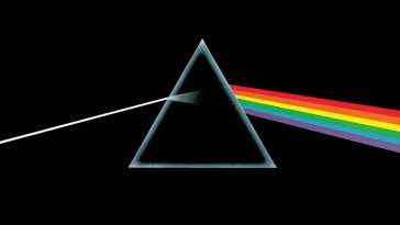 A prism against a black background refracts a beam of light into a rainbow