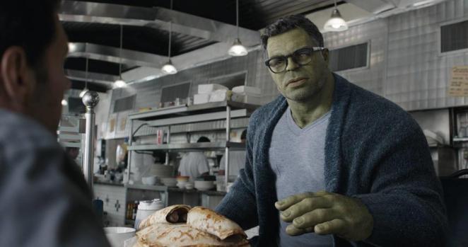 Professor Hulk providing exposition in Avengers: Endgame