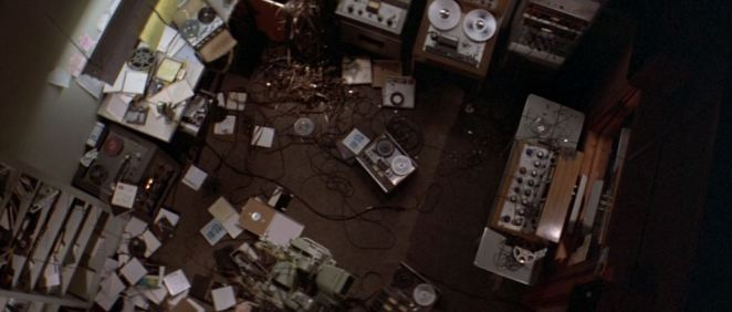 An overhead shot of Jack Terry's ransacked studio in Blow Out