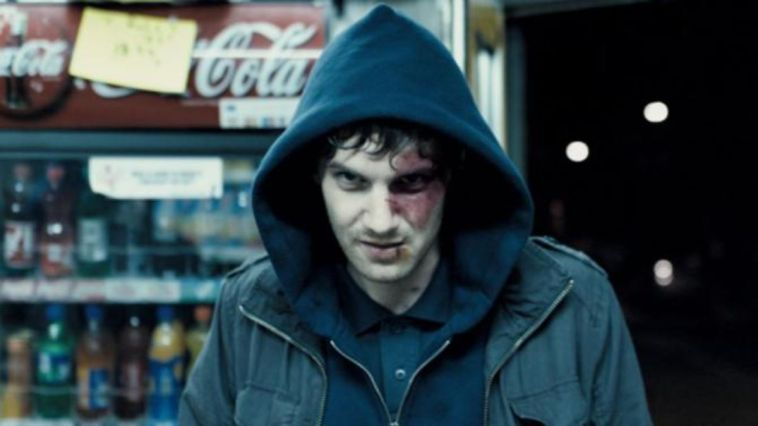 Jim Sturgess as the lonely and haunted Jamie in his hood in Heartless