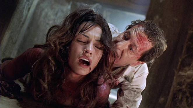 Married couple Stephen and Evelyn Price get into a physically violent fight, both battered and/or bloody.