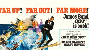 "George Lazenby as James Bond is featured in this poster for his first and only Bond film, ""On Her Majesty's Secret Service"""