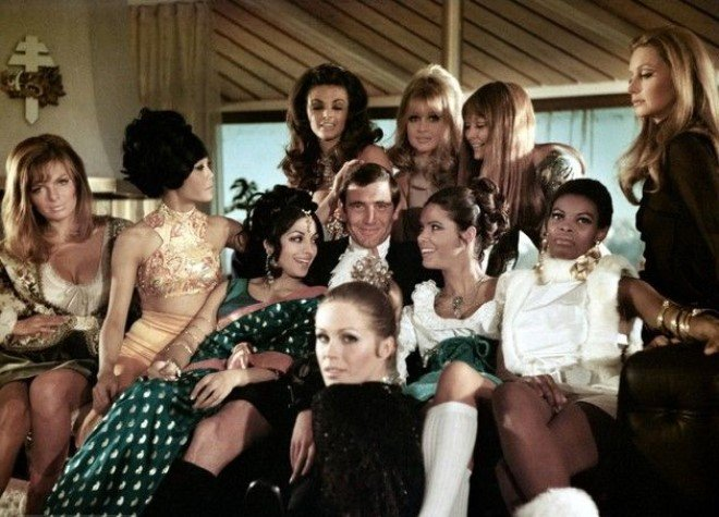 Bond surrounded by Bond girls