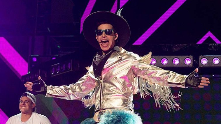 Andy Samberg performs in a flamboyant cowboy outfit as Conner4Real in Pop Star: Never Stop Never Stopping.
