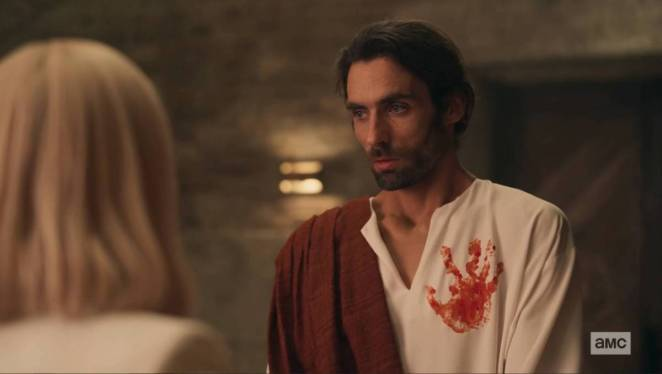 Jesus with a bloody handprint on his robe