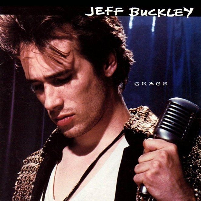 A close-up of Jeff Buckley's face looking downis all you need to know it's his album Grace.