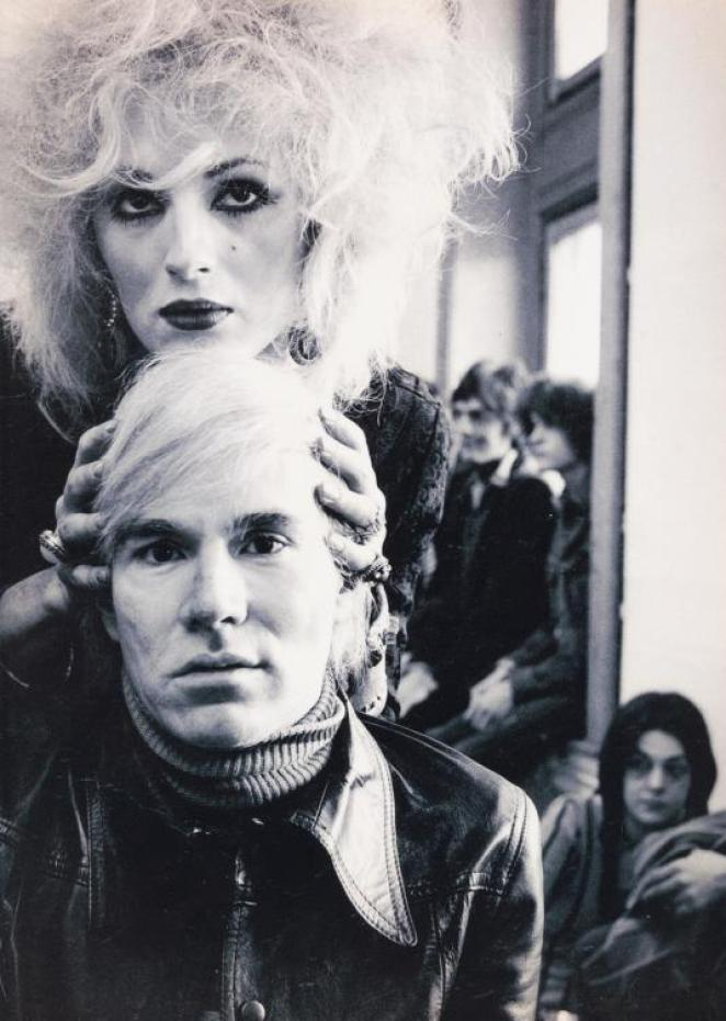 Candy Darling holding Andy Warhols head