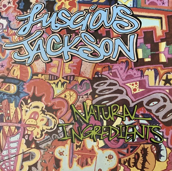 Luscious Jackson's album cover for Natural Ingredients is art in the tagging style, mostly in purples, reds and blues.