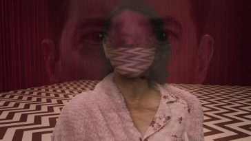 Image from cover of Nochimson's book Television Rewired, showing Dale Cooper's face superimposed on Diane's tulpa's face in the Red Room.