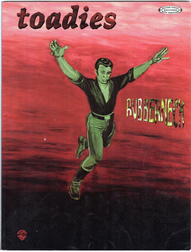 The Toadies Rubberneck album cover is the painting of a green-tinted man running or falling on a red background that may be an ocean.