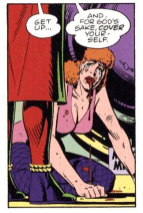 Sally Jupiter after being raped kneels on the floor with a bloody mouth, image from Watchmen graphic novel