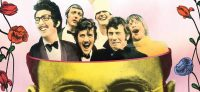 The Monty Python troupe stand up inside an animation of a man's head